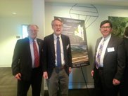 Federation Transportation Committee co--chair Jeff Parnes (Sully) with two additional Fairfax County Transportation Advisory Commissioners Alan Young (at large) and Kevin Morse (Braddock) at Dulles Matters Seminar